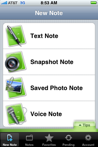 New Note in Evernote iPhone client